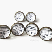 Vintage music sheet round 12mm stud glass dome brass earrings