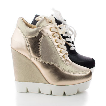 Runway Lace Up Lugsole High Wedge Heel Fashion Sneakers