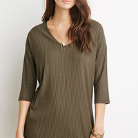 Longline Ribbed Knit Top