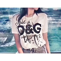 D&G hot seller of graffiti-print short-sleeved tops and stylish casual couple t-shirts White
