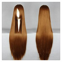 """Women Fashion 100CM/39"""" Long straight Cosplay Fashion Wig heat resistant resistant Hair Full Wigs  brown"""
