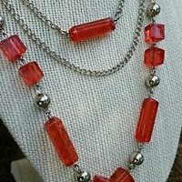 Retro Style Multi-strand Silvertone Clear Red Acrylic and Silver Bead Necklace