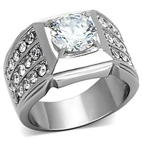 Mens Stainless Steel Rings TK1233 Stainless Steel Ring with AAA Grade CZ