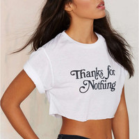"""Thanks for Nothing"" Letter Print Short Sleeve Crop Top"