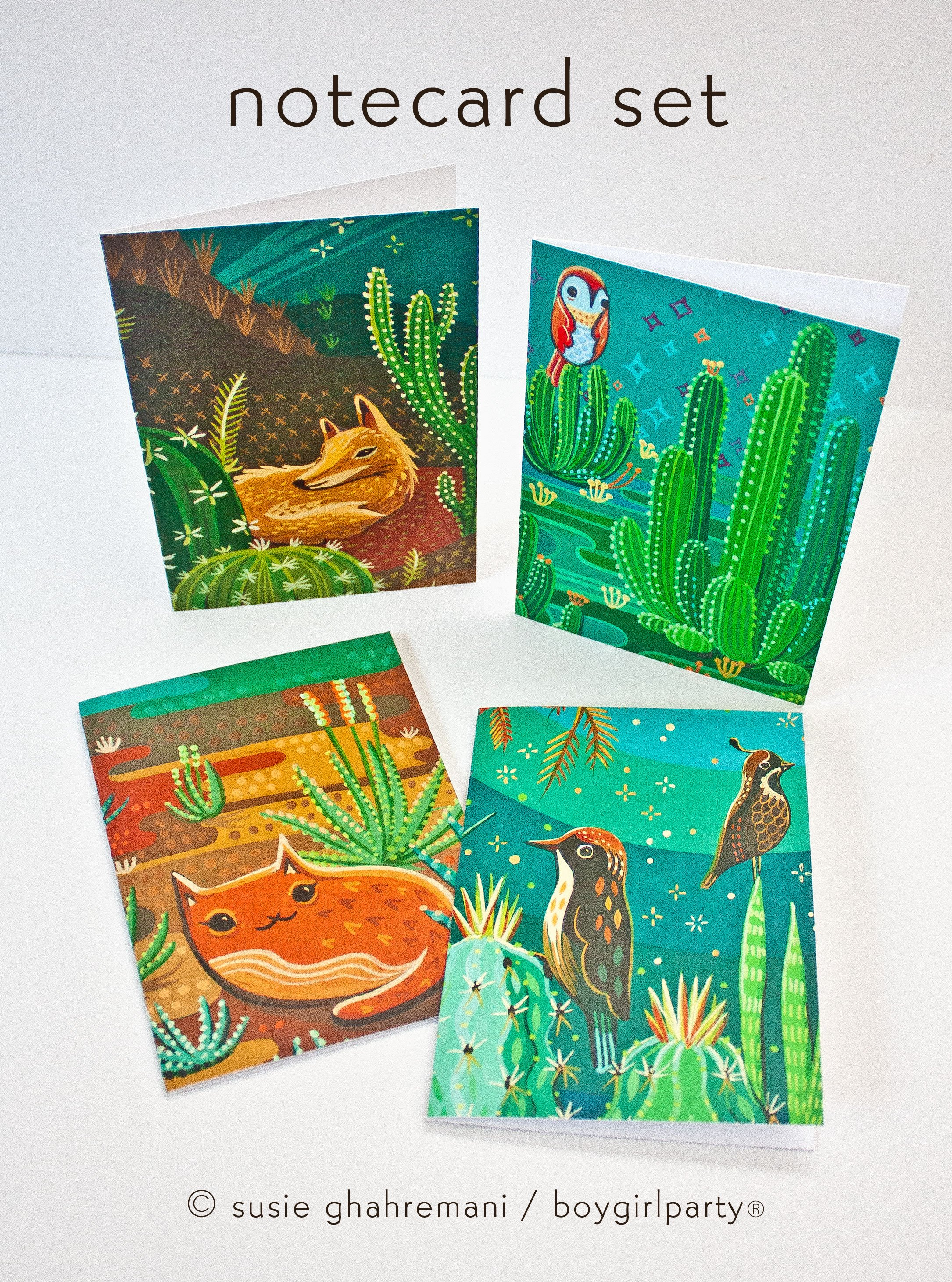 Image of Cactus Note Cards –Desert Animal Stationery (Set of 4 Notecards with envelopes)