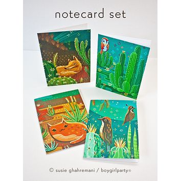 Cactus Note Cards –Desert Animal Stationery (Set of 4 Notecards with envelopes)