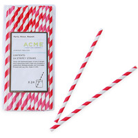 One Kings Lane - Take It Outside - S/100 Stripey Straws, Red