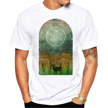 2017 Fashion Men's Summer Casual Tops Hipster Metatrons Cube Forest Design T Shirt Own Style Tees