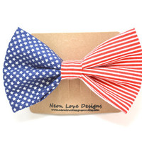 Patriotic Red, White, and Blue Hair Bow Barrette