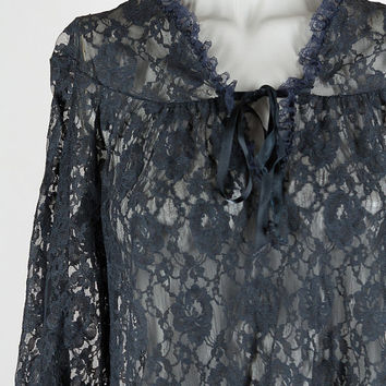 Vintage 70s Top / 1970s Black Lace Sheer Long Sleeve Tunic Top S