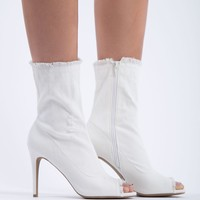 Dogs Are Barking Denim Booties in White