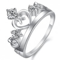 Designer Style Princess Crown Ring with Clear Cubic Zirconia Crystals, Size 4.5, 5, 5.5, 6, 6.5, 7, 7.5, 8, 9