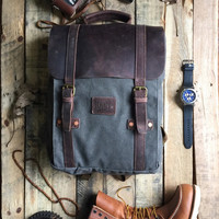 Grey duck canvas backpack. Leather canvas backpack. Hipster backpack. Leather canvas bag. canvas rucksack. modern lumberjack