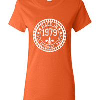 Made in 1979 All Original Parts Tshirt. 36th Birthday Shirt.  Funny Birthday Tshirts. Ladies and Mens Unisex Styles. Makes A Great Gift.