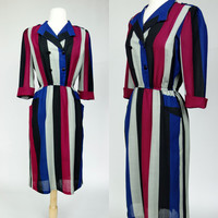 1980s striped dress, color block short sleeve elastic waist shift dress w/ pockets, office, secretary, Medium, Size 8