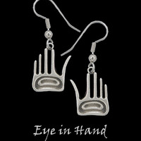 Eye in Hand Earrings in Pewter by Frederick Design