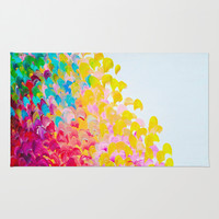 CREATION IN COLOR - Vibrant Bright Bold Colorful Abstract Painting Cheerful Fun Ocean Autumn Waves Rug by EbiEmporium | Society6