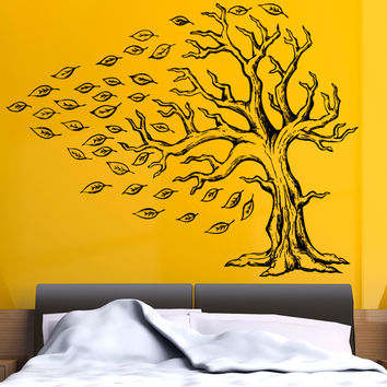 Vinyl Wall Decal Sticker Tree With Flying Leaves #5350