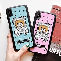 MOSCHINO Cute Astronauts Bear Print iPhone Phone Cover Case For iphone 6 6s 6plus 6s-plus 7 7plus iPhone X XR XS XS MAX