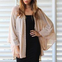 Lightweight Cream Kimono with 3/4 Sleeves & Open Front