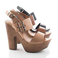 Rudy11 By Breckelle's, Strappy Multi Buckle Faux Wooden Platform Chunky Heel Sandals