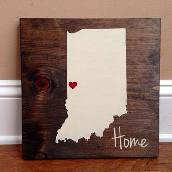 Pick Colors, Indiana Wood Sign, Custom Indiana State Sign, Stained Hand Painted, Personalize, Indiana decor