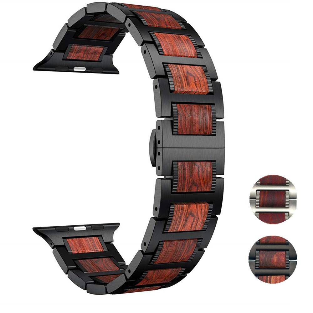 Image of Wood STRAP for Apple Watch Band 5 4 44mm 40mm iWatch 3 band 42mm 38 mm Bracelet Natural Red Sandalwood+Stainless Steel Watchband