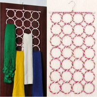 Multi-use 28-Hole Ring Rope Scarf Wrap Shawl Storage Holder Hanger Organizer-Y (Color: Multicolor) = 1957957380