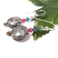 Pink and Indicolite AB Swarovski Bicone Pink Laguna Lace Disc and Sterling Silver Earrings