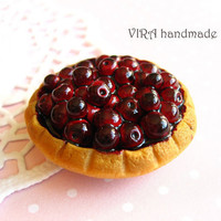 Cute handmade polymer clay miniature food realistic red cherry pie magnet