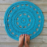 Crochet Doily Rug, , French Country Lace Round Rug, Home Decor Accent Rug, Cottage, Lake House, shabby chic, nursery