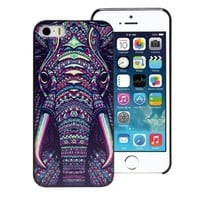 Suppion Fashion Aztec Animal Hard Back Plastic Case Cover For iphone 5 5G 5S (Elephant)