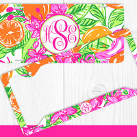 Hot Pink Lime Green Floral Monogram License Plate Frame Holder Metal Wall Sign Tags Personalized Custom Vanity