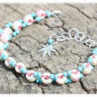 Handmade Cotton Candy Hemp Anklet