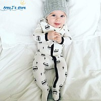 Boy girl baby cotton baby with long sleeve jumpsuits children's pajamas