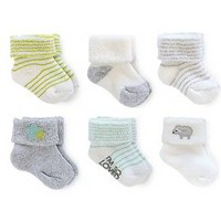 Just One You™ Made By Carter's® Newborn 6-Pack Stripe Ankle Sock - Gray/White/Green 0-3 M : Target