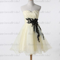 A-line Sweetheart Above the knee Organza Applique Short  Cocktail Dresses Prom Dresses Formal Dresses  Evening Dresses Party Dresses 2013