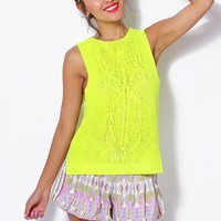 Neon yellow cable knit tank top
