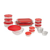 28-Piece Glass Bake & Food Storage Set with Red Lids