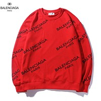 Balenciaga New fashion more letter print couple long sleeve top sweater Red