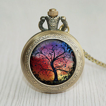 Tree pocket watch, the tree of life necklace jewelry art photo printing gift of brain wonderland jewels up in the air