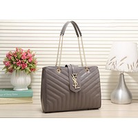 YSL Trending Women Stylish Shopping Bag Leather Handbag Tote Satchel Buckle Shoulder Bag Grey I-LLBPFSH