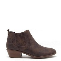 Favored Distress Point Toe Ankle Booties In Dark Brown