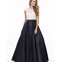 Preorder -  Black & Ivory Lace Cap Sleeve Long Satin Ball Gown 2016 Prom Dresses