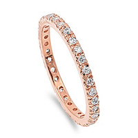 925 Sterling Silver CZ Stackable Rose Gold-Tone Plated Eternity Ring 2MM