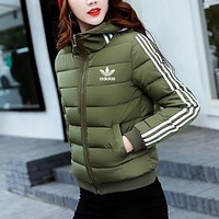 Adidas Women Fashion Casual Hooded Cardigan Jacket Coat Windbreaker