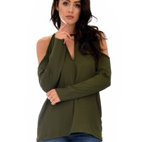 Lyss Loo Melt My Heart Cold Shoulder Olive Blouse Top