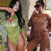 New sexy leopard print cutout one-piece swimsuit + long-sleeved cardigan two-piece swimsuit