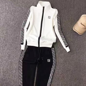 Fendi Autumn And Winter New fashion letter string mark print long sleeve coat and pants two piece suit White