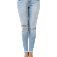 Knee Cut Frayed Bottom Ankle Skinny Jeans